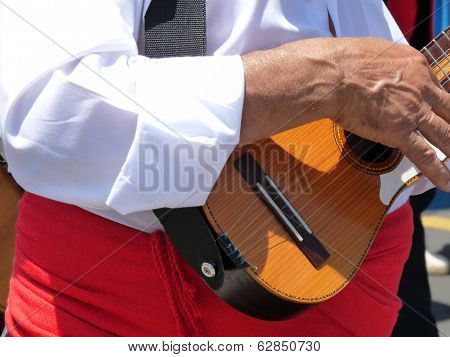 Canary Islander playing traditional folk instrument called a