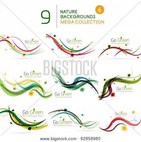 Spring | Summer wave floral nature background mega collection