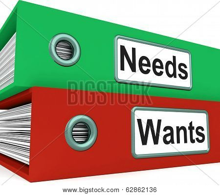 Needs Wants Folders Show Requirement And Desire