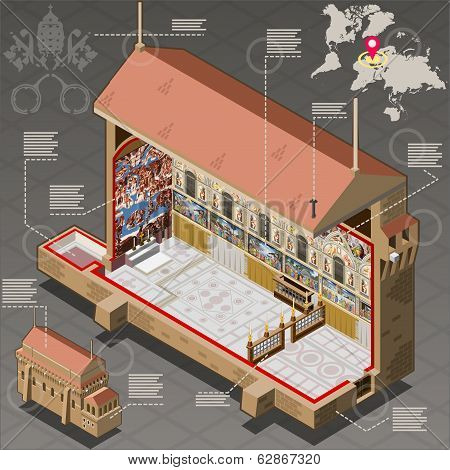 Isometric Infographic Of Sistine Chapel Of Vatican