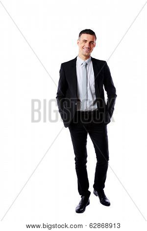 Full-length portrait of a happy businessman isolated on a white background