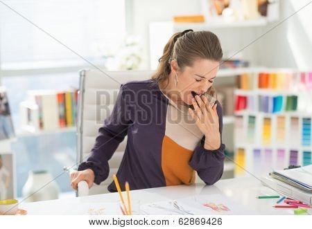 Fashion Designer In Office Yawing