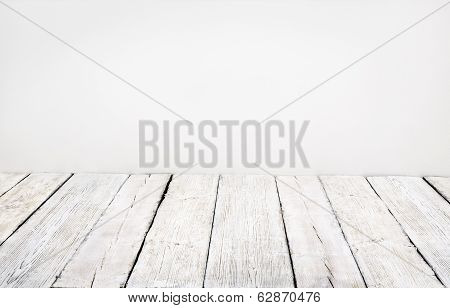 Wooden Floor, Old Wood Plank, White Vintage Board Room Interior