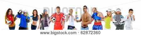 The team of great athletes from different sports. isolated on a white background poster