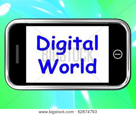Digital World On Phone Meaning Connection Internet Web poster