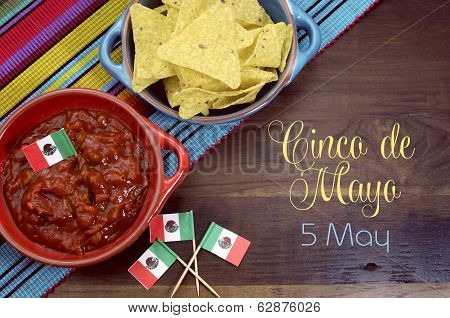 Happy Cinco De Mayo, 5Th May, Party Table Celebration With Corn Chips And Salsa Dip, Mexican Flags A