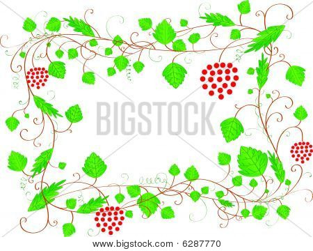 White frame with leaves and berries and a place for text