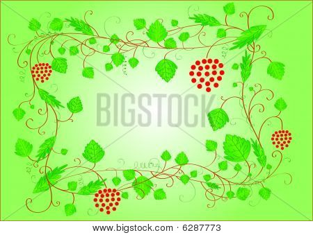 Green curly frame with leaves and berries and a place for text