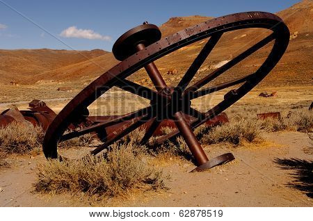 Iron wheel used in mining gold in Bodie, California
