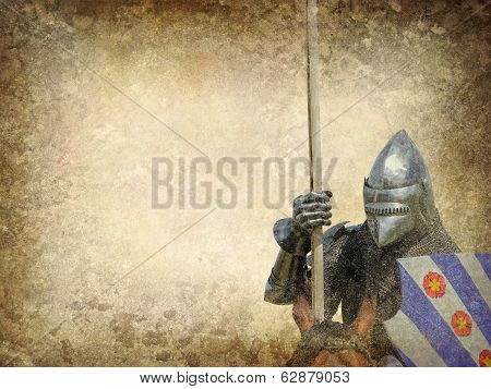 Armored knight on warhorse - retro postcard on vintage paper background poster