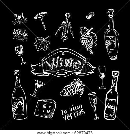 Wine set on chalkboard