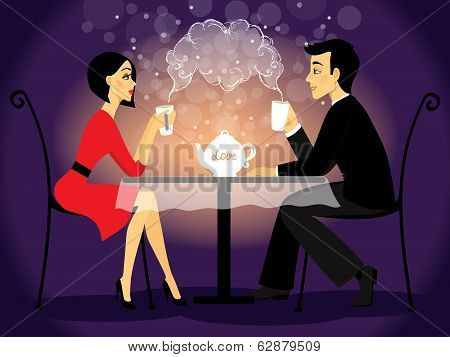 Dating couple scene, love confession vector illustration poster