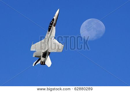 Beautiful Image of Military F-18 and the Moon