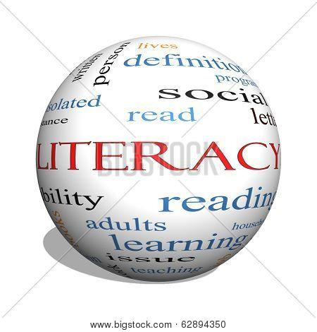 Literacy 3D Sphere Word Cloud Concept