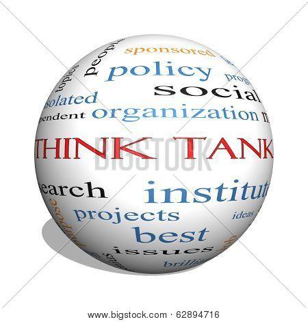 Think Tank 3D Sphere Word Cloud Concept