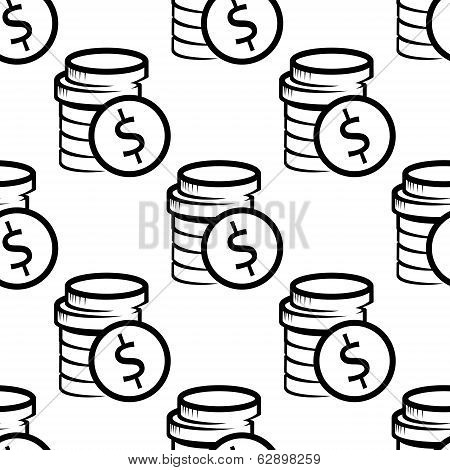 Dollar coins seamless pattern