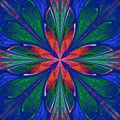 Symmetrical pattern in stained-glass window style. Green blue and red palette. Computer generated graphics. poster