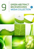 Mega set of green abstract backgrounds | summer or spring seasonal waves, swirls, textures, templates poster