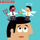 Business life. Moral choice, business ethics and temptation concept vector illustration poster