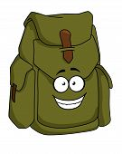 Tourist sturdy green canvas rucksack or backpack with a happy smiling face, cartoon illustration poster