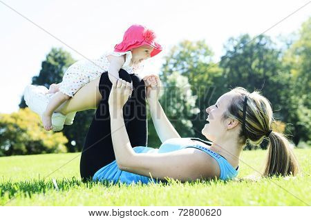 Mother training baby