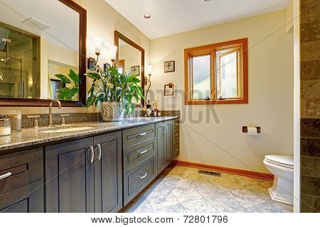 Modern Bathroom Interior With Big Cabinet And Two Mirrors
