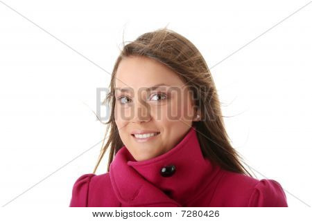 Teen Woman In Pink Female Coat