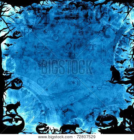 Spooky Blue Halloween Background