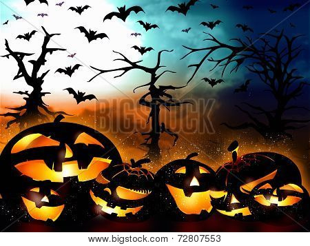 Halloween Design, Pumpkins On The Forest Background