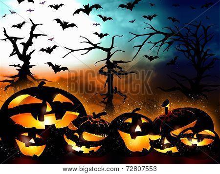 Halloween Design, Pumpkins On The Forest Background