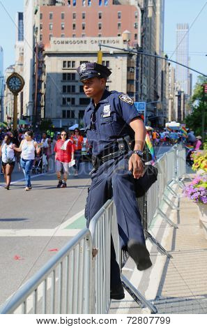 NYPD officer during LGBT Pride Parade in NY