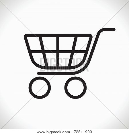 Black shopping trolley icon. Vector design element