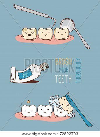 Comics about dental diagnostics and treatment.
