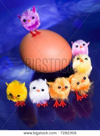 Chicks On Top And In Front Of An Egg