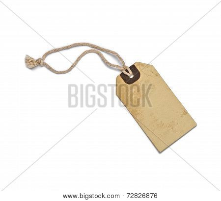 Textured blank tag tied with brown string. Price tag gift tag sale tag address label poster