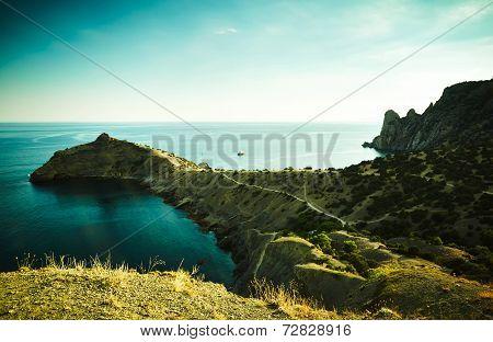 Mountains And Sea At Sunset. Crimea Landscape