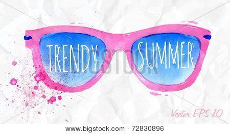 Watercolor pink sunglasses