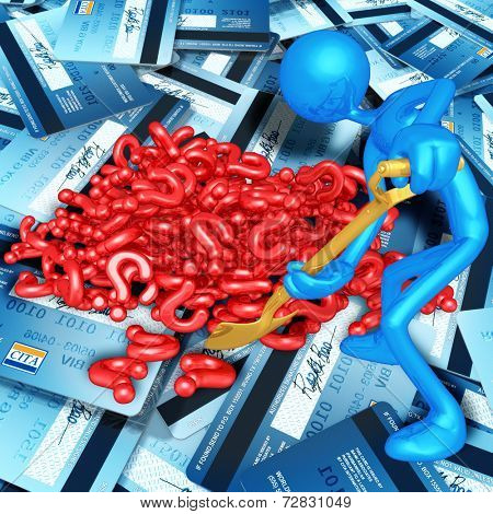 3D Character Digging In A Pile Of Questions