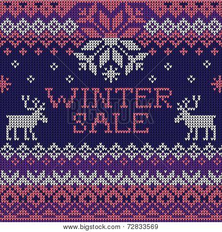 Winter sale: Scandinavian style seamless knitted pattern with de