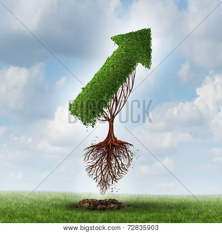 New horizon concept and looking for new business opportunities for growth and success by changing environment and relocating as a tree shaped as an upward arrow uprooted flying up to the sky moving forward. poster