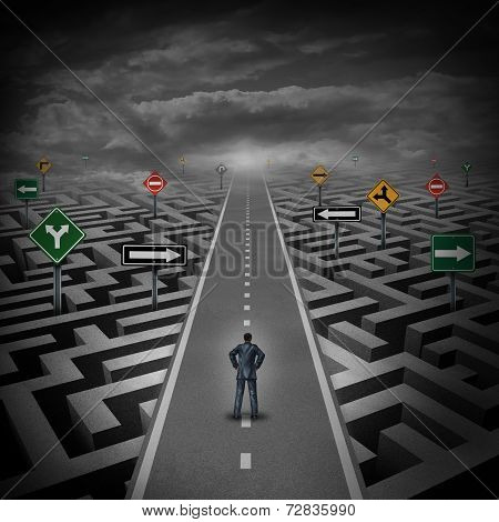 Crisis solution concept as a businessman standing on a straight road through a maze or labyrinth with confusing direction road signs as a metaphor for finding the answer to a riddle as a clear strategy to overcome difficulties in business and the problems poster