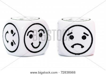 Emoticon Dice With Happy And Sad Expression Sketch