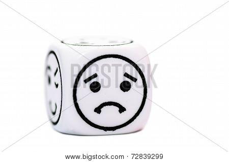 Single Emoticon Dice With Sad Expression Sketch