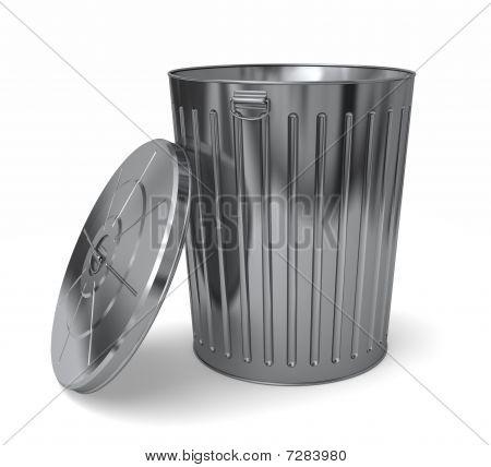 Steel Trash Can Lid Off