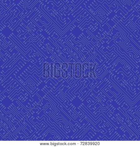 Microchip Abstract Vector Blue Background - High Tech Circuit Board Pattern