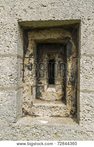 Victorian Loophole In Stone Wall.