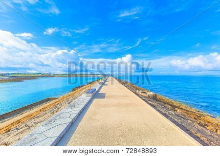 Breakwater with benches in Okinawa
