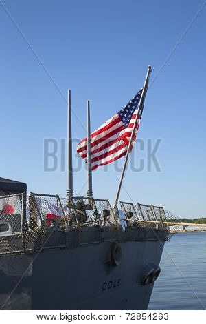 American flag at the USS Cole guided missile destroyer of the United States Navy during Fleet Week