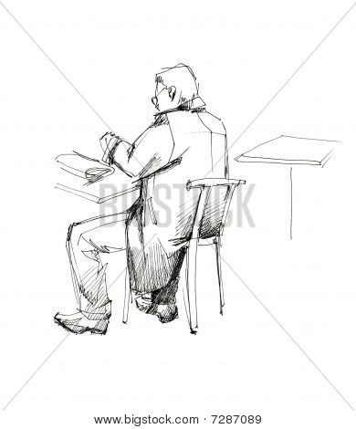 man in an overcoat at the table from the back