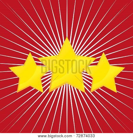 Vector tree gold stars on red and white background